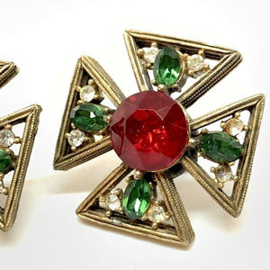 antique maltese cross rhinestone screw earrings